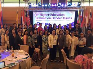 Dr. Doracie B. Zoleta-Nantes and Prof. Dina L. Lim pose with the other delegates of the 4th Higher Education Summit on Gender Issues at PICC Plenary Hall