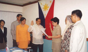 Re-appointment of Dr. Benny A. Palma as president of ASCOT from August 9, 2000 to August 8, 2004 held at the Cafe Med Restaurant, Mandaluyong City, August 10, 2000. In picture are Rep. Angara-Castillo, Hon. Hadja Roqaiya VR. Maglangit, Hon. Allan Jose J. Villarante, Dir. Mary Ann P. Sayoc, Dir. Oskar D. Balbastro, and Carol Joy L. Palma.