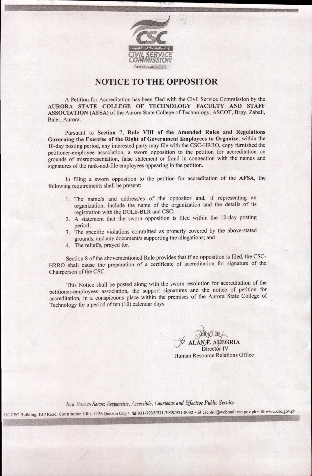 Notice to the Oppositor